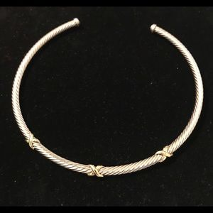 "Jewelry - Sterling & 14k ""X"" Cable ""Carden"" @ Choker/bib"